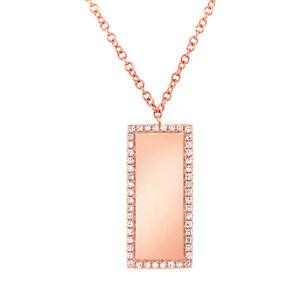 14K Rose Gold Diamond Bar ID Pendant Dog Tag Pave Necklace 0.11ct Engravable