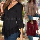 Women V Neck Lace Crochet Floral Embroidered Tops Vintage Casual T-Shirt Blouse