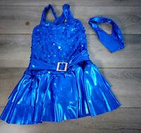A Wish Come True Girls JAZZ DANCE SHOW COSTUME More Blue Sequin Dress ISC 6x-7