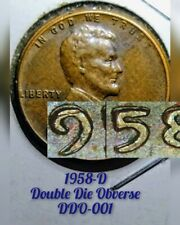 1958-D Lincoln Wheat Penny Cent double die Date profile abe Lincoln DDO rarest $