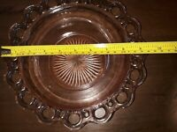 """Vintage Pink Depression Glass Old Colony Open Lace 9.5"""" Salad Serving Bowl Dish"""