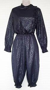 Ladies vintage 80's jumpsuit Black long sleeve ruffled size 14