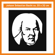 JOHANN SEBASTIAN BACH Wandtatoo, ca. 35 x 32 cm, Hochleistungsfolie m. Montagep.
