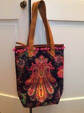 Roberta Roller Rabbit Adorable Beach Bag Tote Nwt  Pom Poms!