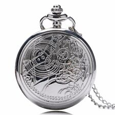 Vintage Doctor Who Quartz Pocket Watch Necklace Chain Full Hunter Two Colors