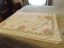 VINTAGE LINEN TABLECLOTH PINK & GREEN CROSSTITCH EMBROIDERED RECTANGULAR 60X77
