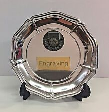 Football Silver Plastic Plate with Stand + FREE Engraving + FREE P&P