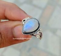 Solid 925 Sterling Silver Natural Blue Fire Moonstone Ring Handmade Gift Rings