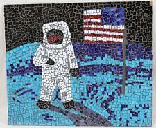 Handmade 16x19 Glass Space Mosaic Astronaut American Flag Moon Wall Art OOAK