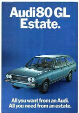 Audi 80 GL Estate 1471cc 1975 UK Market Foldout Sales Brochure