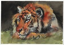 original drawing A4 306LM art by samovar watercolor tiger Signed 2020