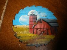 "Mini circular saw blade painting BARN 3"" round"