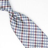 Josiah France Mens Silk Necktie Light Blue Burgundy Houndstooth Check Weave Tie
