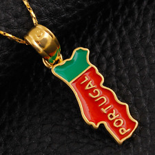 Portugal Map Pendant Necklace Flag 18k Gold Plated Jewelry Portuguese PRT