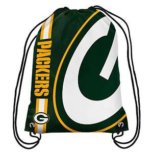 Green Bay Packers NFL Big Logo Side Stripe DrawString Backpack Backsack Bag