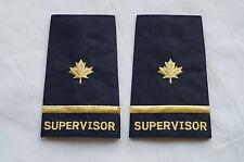 Canadian Police Fire Supervisor One 1 Bar Gold Shoulder Slip Ons Pair