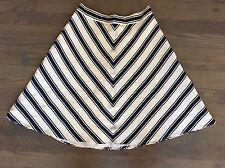 """Vtg 80s Ralph Lauren Blue+White Chevron Striped 100% Silk Lined Skirt 25"""""""