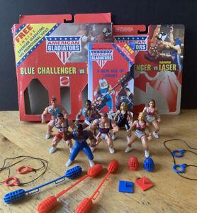 American Gladiators Blue Challenger vs Laser Set (w/ VHS) + 6 Figures Mattel