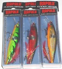 Rapala CNM-7 Clackin Minnow Crankbait (Lot of 3-Fire/Red Cr/Gold-Hard to Find)