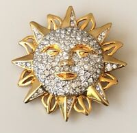 Unique vintage Sun face Brooch pin gold tone metal with crystals