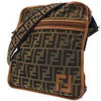 FENDI Zucca Pattern Shoulder Bag Brown Black Nylon Leather Vintage Auth #CC132 I
