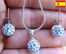 Bola Redonda Rhinestone Pendientes Cristal Cadena Colgante Collar Mujer 75 , 76