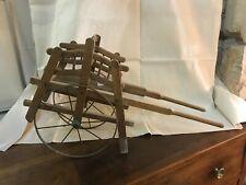 JOUET BOIS ANCIEN charrette de poupée roues en fer époque fin 19 ème
