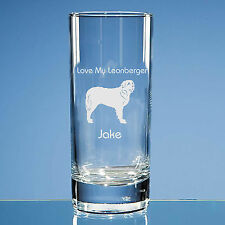 More details for leonberger dog lover gift personalised hand engraved highball glass dog gift