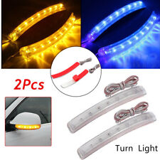 2* LED Soft Turn Signal Light Strip Car Auto Side Lamp Mirror Amber Indicator