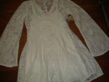 NEW AMERICAN RAG IVORY VICTORIAN FLORAL NET LACE BELL SLEEVE L/S SLIP DRESS - M