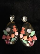 Lt. Green Pink Glass .# 6 Flowered Earrings. Brown Posts Pretty Rose