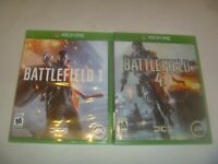 Battlefield 1 (2016) & 4 (2013) Microsoft Xbox One 2 Game Set Lot With Case