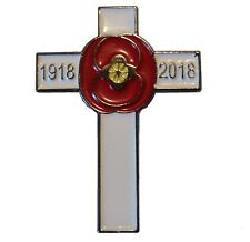 Lest We Forget WW1 1918-2018 Cross 100 Yrs Poppy Armistice Remembrance Day Badge