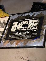 Vintage Bud Ice Draft Beer Mirror Sign Anheuser Busch Budweiser
