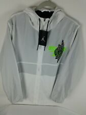 Nike Air Jordan Classic Nylon Full Zip Hooded Jacket Sz L Men's White BQ8476-100