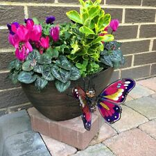Set of 2 Large Butterfly Garden Pot Hangers – Decorations Ornaments Patio Decor
