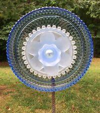 Frosted & Periwinkle Cut Glass Garden Flower Repurposed Suncatcher Yard Art
