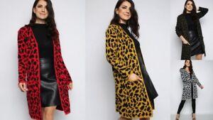 womens ladies Leopard print Longline open front Cardigan jumper coat one size