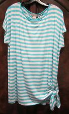 NEW! MICHAEL KORS BASICS Side-Tie Boat-Neckline Stripe Short-Sleeve Top 1X $69