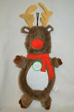 Christmas HOLIDAY Dog TOY REINDEER Opens for Plastic Bottle Plush Flat NEW Brown