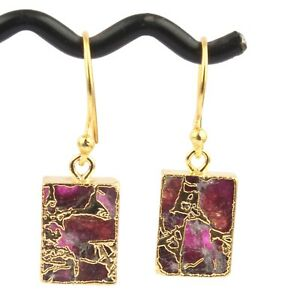 Colorful Multi Color Mojave Copper Turquoise Yellow Gold Plated Girls Earrings
