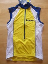NWT JAGGAD Cycling Vest 3/4 Zip Men's S Small Yellow Blue White NEW Back Pockets