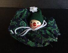 VINTAGE WOODEN GERMAN ORNAMENT:#1 Wooden Clown Head w/green collar, Steinbach ?