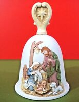 Homco Christmas Nativity Bell hand painted porcelain bisque lambs beautiful