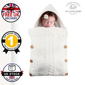 NEWBORN WHITE SWADDLE KNIT BABY WRAP KIDS KNITED SLEEPING BAG UK