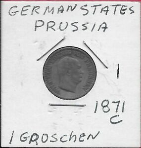 GERMAN STATES PRUSSIA 1 SILBER GROSCHEN 1871-C Silver,RULER:WILHELM I,HEAD RIGHT