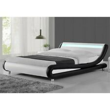 Kingway Furniture Mint Platform Queen Bed in Black/White With LEDS
