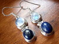 Moonstone Lapis 925 Sterling Silver Dangle Earrings New