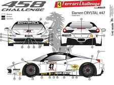 "[FFSMC Productions] Decals 1/43 Ferrari F-458 Challenge ""Darren Crystal"" 2012"