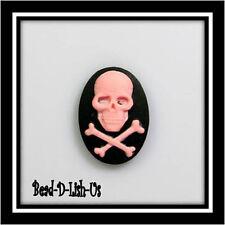 2 x Skull CrossBones 18x13mm Cameo gothic emo punk B&Pi